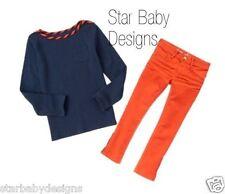 NWT Gymboree PREP PERFECT Outfit Size 7 Girls Stripe Trim Top,Skinny Jeans Adj