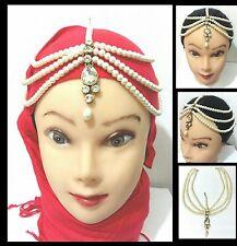 TESTA Hijab Matha Patti gioielli catena oro indiano Copricapo Tikka Capelli Pezzo