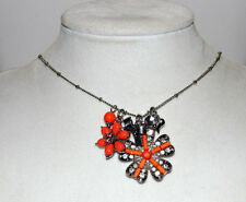 Betsey Johnson Silver-Tone Iconic Coral Flower Pendant Necklace