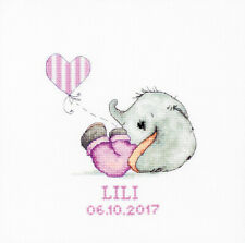 Baby Girl Elephant Birth Sampler Counted Cross Stitch Kit