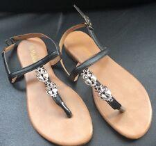 ladies flat sandals black size 3