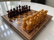 Wunderschönes Reiseschachspiel (Holz, nicht magnetisch!) 80er Jahre