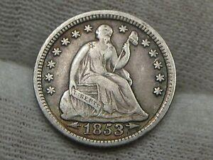VF 1853 w/ Arrows Seated LIBERTY Half Dime.  #36