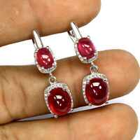 Oval Red Ruby 9x7mm Cz 14K White Gold Plate 925 Sterling Silver Earrings