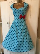 Fabulous Dress Lindy Bop 14 Powder Blue Red Swans NEW Rockabilly 40's 50's