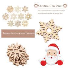 20pcs Assorted Christmas Tree Ornament Wooden Snowflakes Tag Wedding Decor