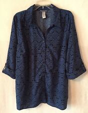 Catherines Women's 1X 18W 20W Button Down Blouse Blue V-Neck Cuffed 3/4 Sleeves