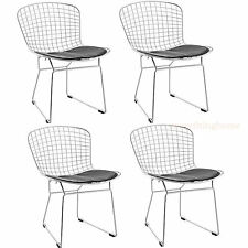 4X BERTOIA STYLE CHAIR DINING SIDE CAFE STEEL WIRE CHROME MESH BLACK PAD -331 LB
