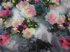 Palette-Knife-Style Roses on Vintage Black & White Photos Jersey Knit