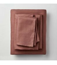 Casaluna 100% Washed Linen Clay Solid Queen Flat & Fitted Sheet Only No Cases
