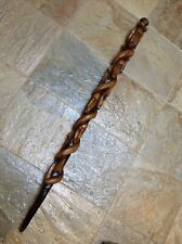 Antique Vintage Hand Carved Tribal? Cane Walking Stick Multiple Faces & Snake