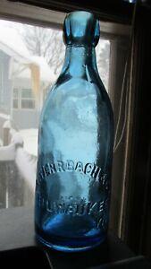 Milwaukee, Wis. L. Werrbach & Co. COBALT BLUE Squat Soda Mineral Water Bottle