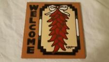 """6"""" CHILLI PEPPER WELCOME HOTPLATE TILE HANDMADE BEAUTIFULLY DONE  SOUTHWEST"""