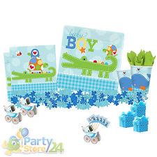 Baby Boy Tisch Set Teller Becher Taufe Geburtstag Babyparty Geburt Shower Deko