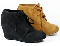 Round Toe Wedge Lace Up Fashion Ankle Boot Bootie Soda Derry-s Black Hazelnut