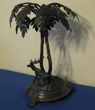 "ANTIQUE 15"" FRAGET W WARSZAWIE SP DEER UNDER PALM TREE CENTERPIECE c.1860 - 1896"