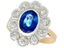2.80 Ct Sapphire & 1.50 Ct Diamond 18k Rose Gold Silver Set Cluster Ring