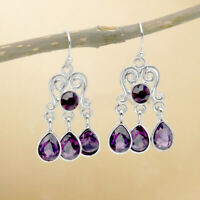 Wholesale Vintage 925 Silver Purple Amethyst Gemstone Drop Dangle Hooks Earrings