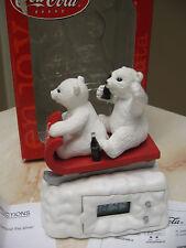 NEW COCA COLA MINI CLOCK -POLAR BEARS SLEDDING-RETIRED 2000 NEW BATTERY INCLUDED