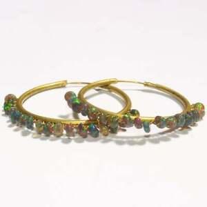 Sterling Silver Natural Ethiopian Smooth Black Opal Hoop Earring Opal Jewelry