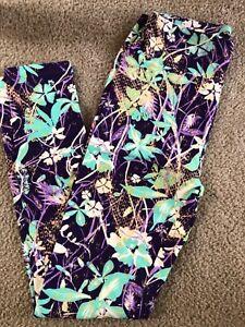 LuLaRoe Leggings One Size OS Floral Swirl Mardi Gras Celebration Print NEW Mint