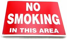 """NEW NO SMOKING IN THIS AREA 14"""" x 10"""" RED & WHITE PLASTIC SIGN"""