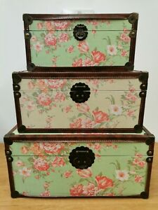 Trio Of Green And Pink Floral Storage Chests / Boxes (D1)