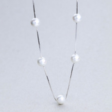 """Sterling Silver Finish Simple 6 mm Pearl Necklace Pendant Box-Chain SOLID 18"""""""
