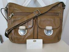 FOSSIL 'RILEY' Hobo Medium Tan Brown Leather Crossbody Shoulder Bag ZB6453 Purse