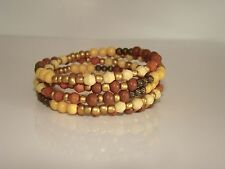 Wood Beads w/Sienna/Earth-Tones Beaded Snake Coil Wrap Bracelet #5526