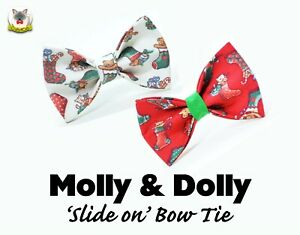 Pet bow tie 'Molly & Dolly' slide on bow tie for cats and small dogs