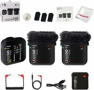 Lensgo 348C 1 to 1 2 Kit 2.4G Wireless Microphone System Lapel Mic+Charging Case
