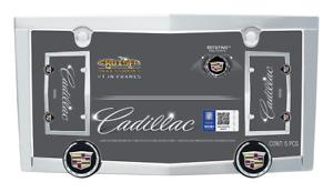 Cadillac LOGO Chrome License Plate Tag Frame +2 Screw Bolt Caps for Car Auto New