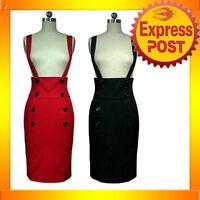 RK41 High Waist Suspenders Work Pencil Skirt Pin Up Mod Rockabilly Black or Red