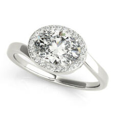 Oval Cut 1.75 Ct Diamond Engagement Solitaire Ring 14K White Gold Rings 7 6.5 8