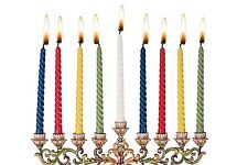 """44 Wax Colorful Hanukkah Candles Red Blue Yellow White Green 7.75"""" T *"""
