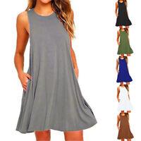 Womens Pullover Summer Beach Long Dress Sleeveless Midi Dress Top Solid