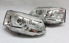 SCHEINWERFER HEADLIGHT für VW T5 LED BAR UBAR ECHTES TAGFAHRLICHT TFL R87 CHROM