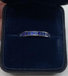 TIFFANY & Co. Platinum 3mm Round Cut Sapphire Channel Set Band Ring Sz 6.5