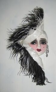 Unique Creations Lady Face Mask Wall Art Wall Hanging - NEW IN BOX