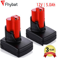 2PCS 12V 5.0Ah Lithium Battery replace For Milwaukee 48-11-2401 M12 Power Tools