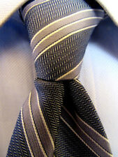 Mens Calvin Klein Blue Striped Silk Skinny Tie A29158