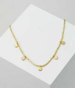 Orelia Gold Seed Bead Collar Length Necklace With Gold Dangling Coins