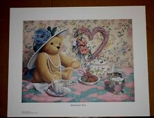 Afternoon Tea by Donna Richardson Teddy Bear China Pearls Hat Strawberries