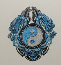 """Dragons Blue Dragons with YinYang Embroidered iron-on Patch New 3 7/8"""""""