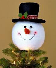 FESTIVE CHRISTMAS SNOWMAN HEAD WITH TOP HAT TREE TOPPER HOLIDAY HOME DECOR