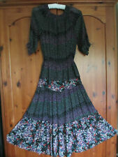 VINTAGE 70'S MUSHROOM PERLEI LONDON ROMANTIC GYPSY DRESS