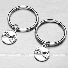 2pcs/Set Pinky Promise Tag Charm BFF Keychain Keyring Friendship Silvery Metal