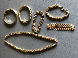 Job Lot Of 6 Vintage Gold Tone Bracelets And Chain Necklace Ex Con Gold Plated