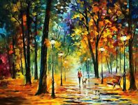 """Lady In Park Colourful Painting Modern Art Canvas Picture Print 30""""x20"""""""